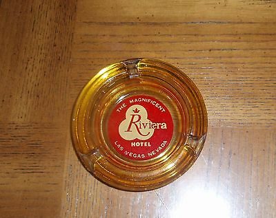Vintage The Magnificent Riviera Hotel Amber Ashtray - Las Vegas, Nevada