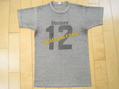 CHAMPION 70s vtg PITTSBURGH STEELERS terry bradshaw BLUE BAR 50/50 T SHIRT small