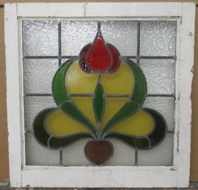 "OLD ENGLISH LEADED STAINED GLASS WINDOW Gorgeous Floral Abstract 22.25"" x 22"""