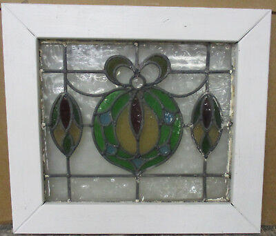 """OLD ENGLISH LEADED STAINED GLASS WINDOW Gorgeous Abstract 20"""" x 17.75"""""""