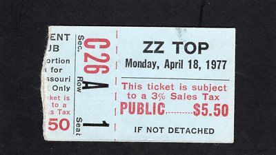 1977 ZZ Top Concert Ticket Stub Missouri Worldwide Texas Tour