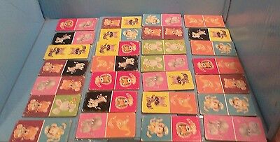 LOT of 28 Vintage Heavy Solid Card Board Animal Dominos Matching Game