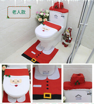 3pcs Santa Toilet Seat Covers Rug Lid Mat Xmas Hook Bathroom Decoration Ornament