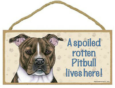"Spoiled Rotten Pitbull Wood Sign Plaque Dog Pit Bull 10"" x 5"" brindle gift"