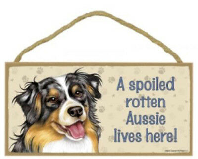 "Spoiled Rotten Aussie Wood Sign Plaque Dog Pit Bull 10"" x 5"" gift"