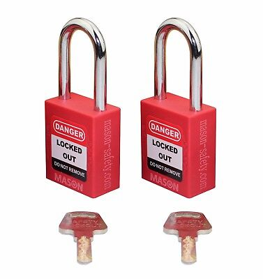 Mason Lockout Tagout 2 PACK KEYED ALIKE Safety Lockout Padlock, Red