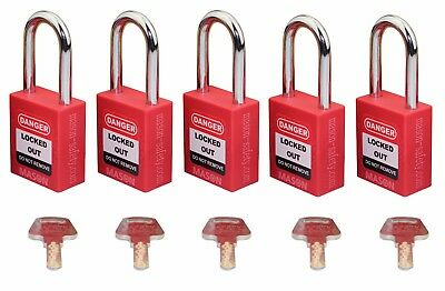 Mason Lockout Tagout 5 PACK KEYED DIFFERENTLY Safety Lockout Padlock Red LOTO