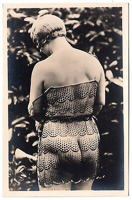 YVA RICHARD * NUDE WOMAN'S BACKSIDE IN SHEER LINGERIE * Vintage 20s Photo PC