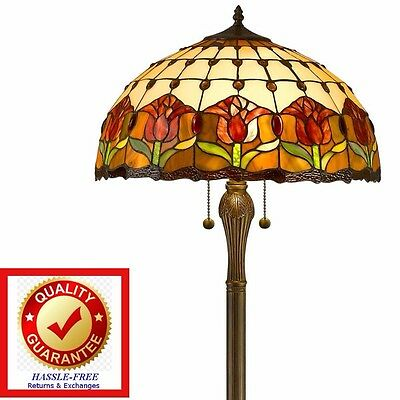 Tiffany Style 62-inch Stained Glass Floor Lamp Floral Tulip Design