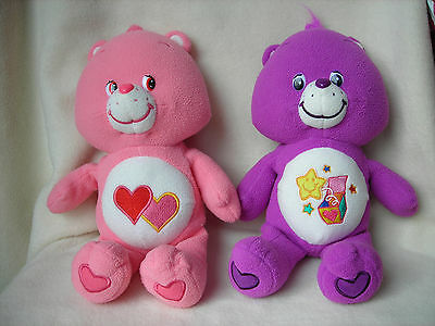 "Lot of 2 Collectible 2005 13"" Care Bear Stuffed Plush - One Pink & One Purple"