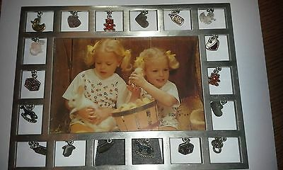 Dangling Glitter Charm silver tone Baby Photo display Frame 6  x 4  Baby gift