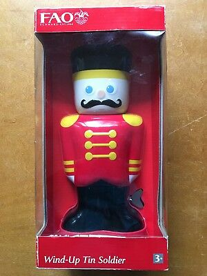 Collectible FAO Schwarz Christmas Toy Wind Up Tin Soldier NIB New walks! red blk