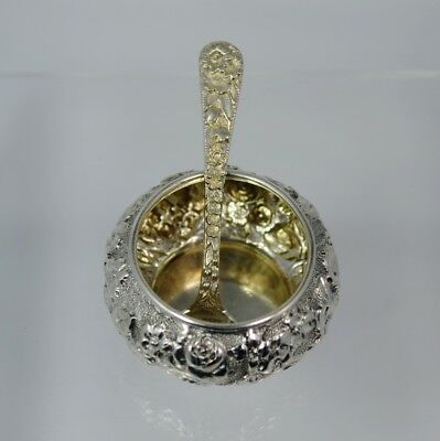 Repousse Sterling B.S.S Co Salt Cellar & Sterling S Kirk & Son Salt Spoon