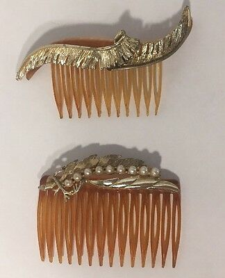 Two Vintage Faux Tortoise Shell Hair Combs