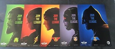 """Justice League AT&T Posters FULL SET + Free Double Sided Thor Ragnarok 13.5 x20"""""""