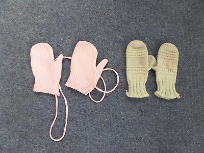 Lot Of Two Vintage Doll Baby Infant Gloves Mittens - 1 - Blue - 1 - Pink 1940S