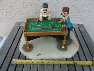 "Ron Lee Craps Table 24 kt Gold 1990 - 147 / 3500  Lrg Base 9 x 12  "" Free Ship"
