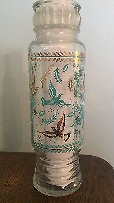 vintage Decanter clear glass enamel bottle vase gold/turquoise birds leaves