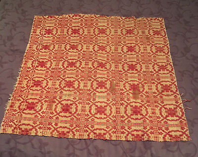 Rare Antique Red Coverlet Woven Fabric Piece