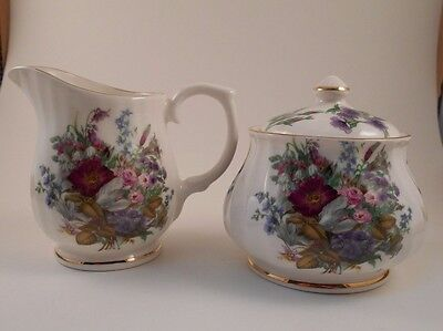 Crown Victorian Spring Blossom Creamer & Covered Sugar Bowl Staffordshire