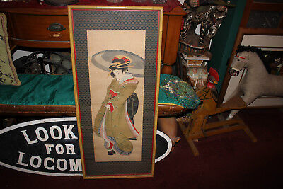 Antique Japanese Painting Geisha Girl Scroll-Large-Framed Asian Art