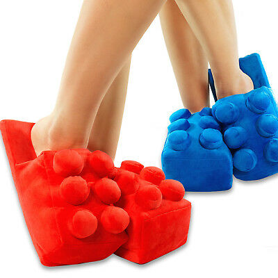 Novelty Brick Building Blocks Style Plush Slippers Warm - One Size Fits Most