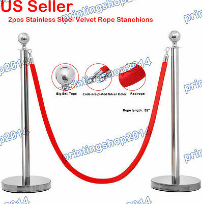 2pcs Thick Stainless Steel Velvet Rope Stanchion Pole Post Silver ends Red Rope