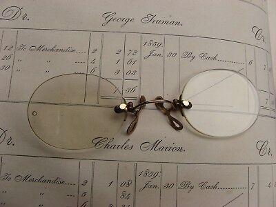 Santa's ANTIQUE spectacles glasses in case~1907~optical~reading~study~library~