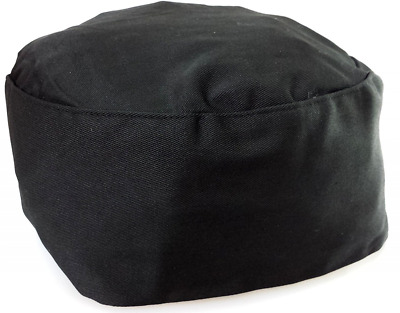 Black Chef Hat Elastic Back Skull Caps One Size Fits Most Professional Look New