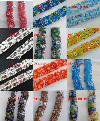 25pcs Millefiori Glass Square Spacers 10x10mm 12colors-1