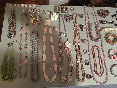 Vintage Jewelry Lot of 50 Various Beaded and Rhinestone