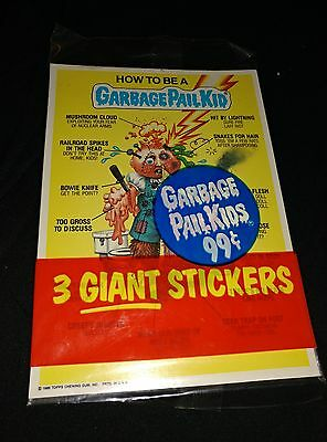 Rare Vintage 1986 Garbage Pail Kids GPK sealed pack of 3 Large Stickers Topps