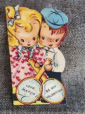 Antique Vintage 1930s Valentine Card,Boy and Girl with Tennis Rackets,Love Match