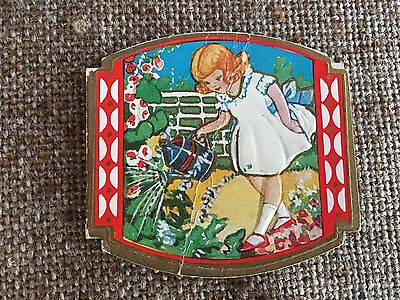 Antique Vintage 1930's Embossed Mini Valentine Card, Girl ,Garden Watering Can