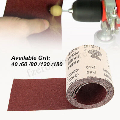 115mm x 5m Sandpaper Roll / Hand and Power 40 60 80 120 180 GRIT Aluminium Oxide