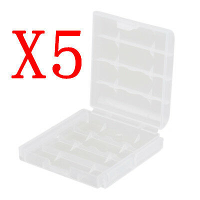 5 pcs Hard Plastic Box Holder Storage Case Cover Recharge AA AAA Battery Trims