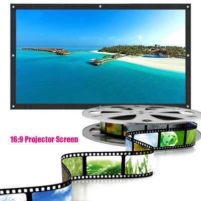 """60"""" 72"""" 16:9 Outdoor Manual Projector Screen Projection Home Movie Theater"""