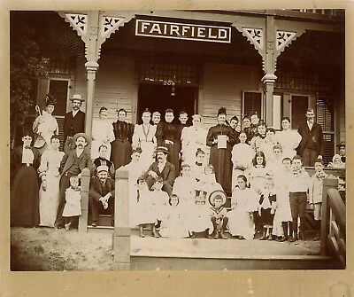 Large Family With Children Pose On House Porch & Original Antique Mounted Photo