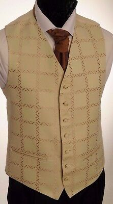 Cw52. Mens/boys Cream With Copper Detail Mosaic Waistcoat / Dress/ Suit / Formal