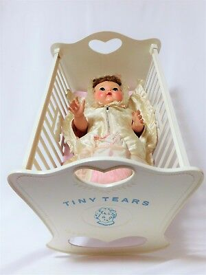 "Rare 1959 SEARS Excl ROCK-A-BYE 16"" TINY TEARS (Tosca) American Char CRADLE BOX+"