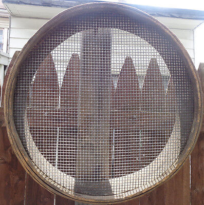 Antique Primitive Early Round Bent Wood Coal Ash Sifter Sieve Rustic Tool