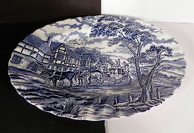 Myott Royal Mail Blue White Oval Serving Platter Staffordshire England 12-1/4""