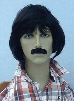 Male/Men's Black Fancy Dress Wig and Moustache Set. (Short Cut Bob Style)