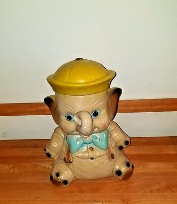 """Vintage Elephant Bank Baby Sailor Carnival Chalkware ~ Hole is closed ~ 12  x 8"""""""