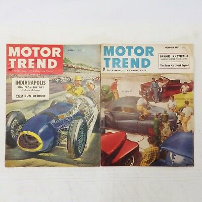 Lot of 8 Vintage Motor Trend Magazines Car Mags Automotive Magazines 1951-1960