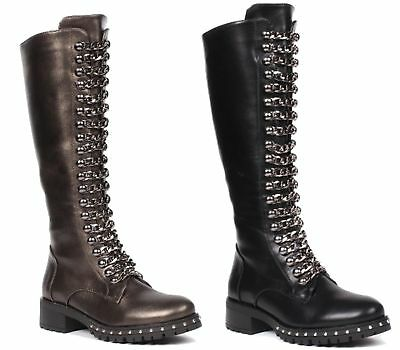 Womens Faux Leather Goth Punk Chain Zip Knee High Calf Punk Military Boot Size