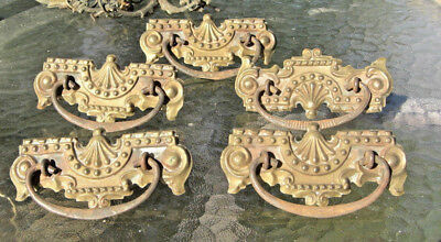 5 VINTAGE Antique STAMPED Brass Drawer Pulls Ornate Victorian Hardware Furniture