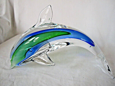 "Beautiful Dolphin Porpoise Glass Paperweight - Green / Blue - 10"" L - EXC"