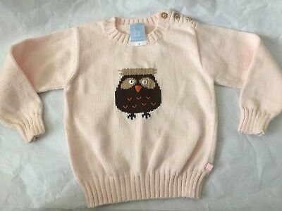 Bella Bliss Size 3 Embroidered Owl , Wood Buttons, Boutique Pink Girls Sweater