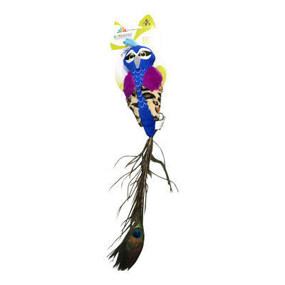 Peacock Cat Catnip Filled Peacock Kicker Catnip Toy + Real Peacock Feather Tail